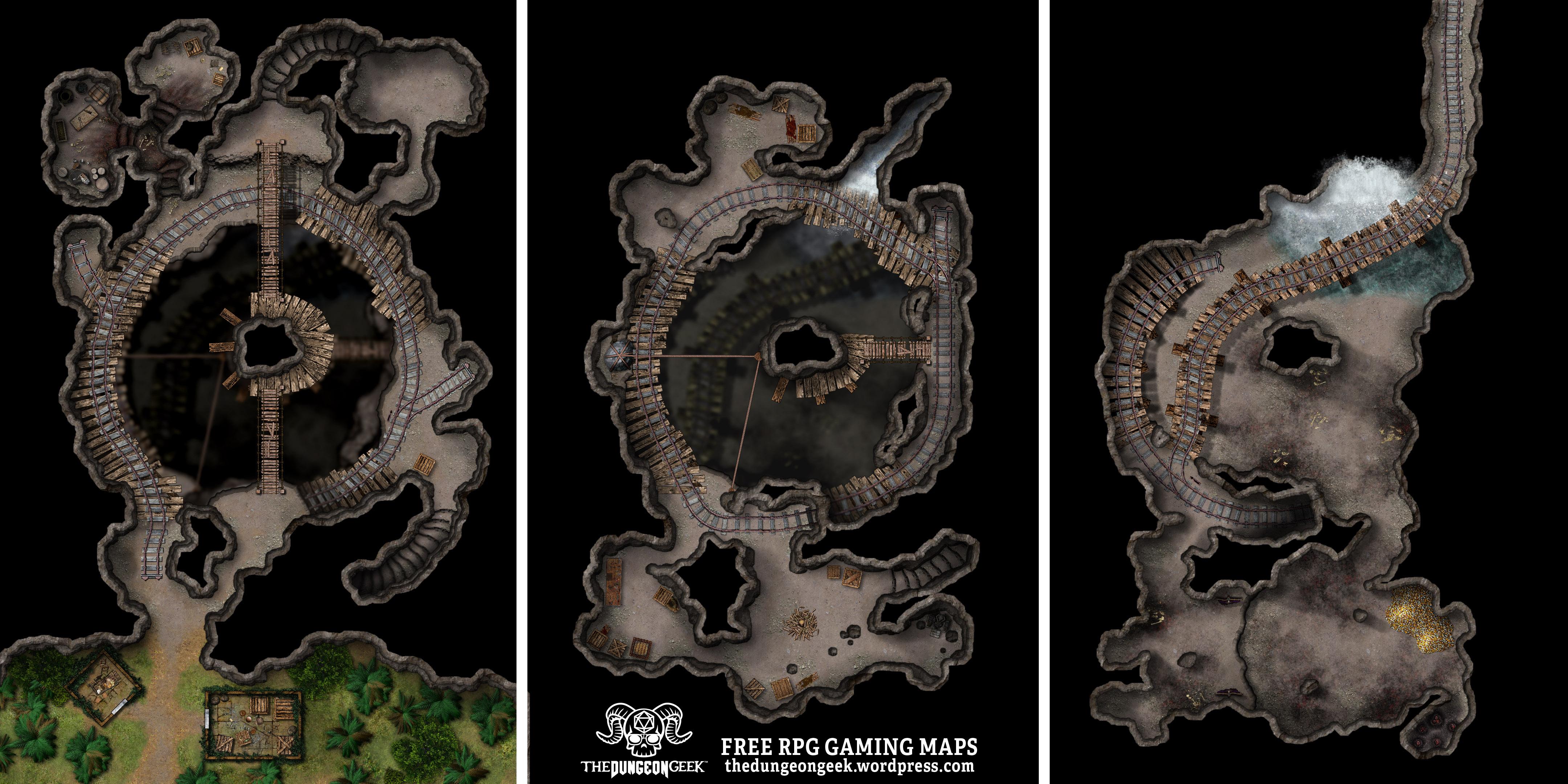 Free D&D Battle Map – Wyrm Jungle Mine Lair – The Dungeon Geek