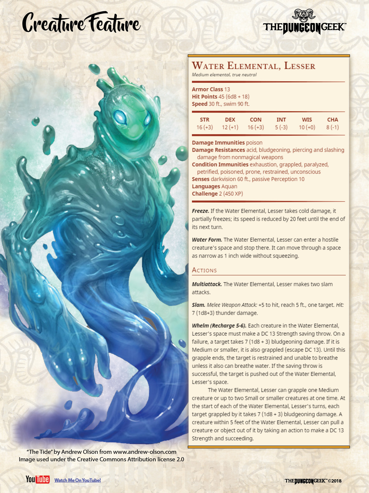 D D 5e Creature Feature Lesser Water Elemental The Dungeon Geek On the other hand, it will turn into hostile towards you and your partners and this might even maul. d d 5e creature feature lesser water