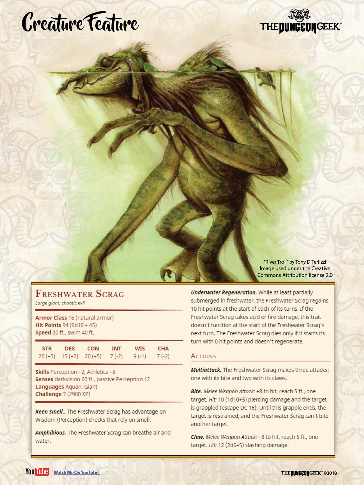 Dd Creature Feature Freshwater Scrag The Dungeon Geek